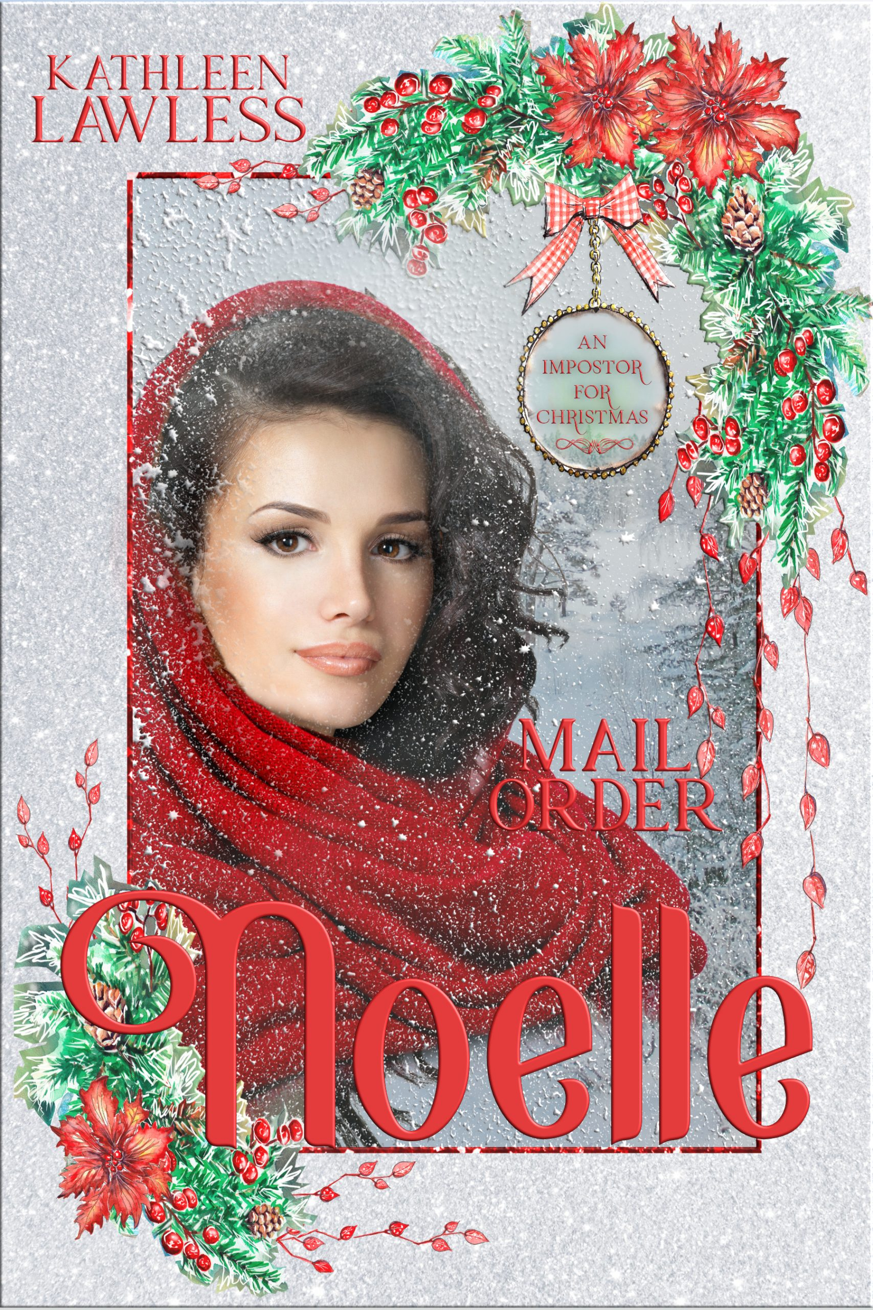 A Christmas scene with a pretty dark haired girl in a red cloak.